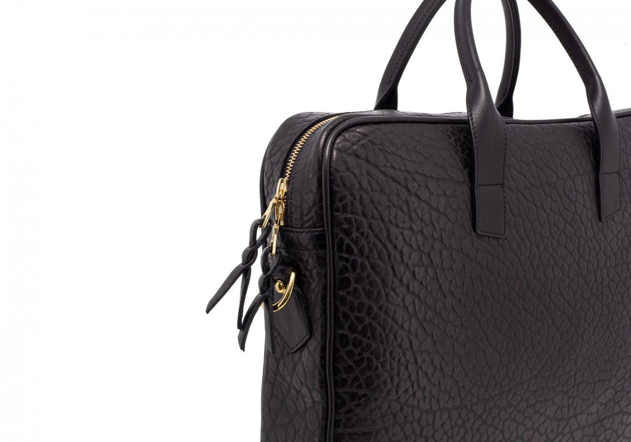 Black Laptop Computer Leather Briefcase Shrunken Grain3 2
