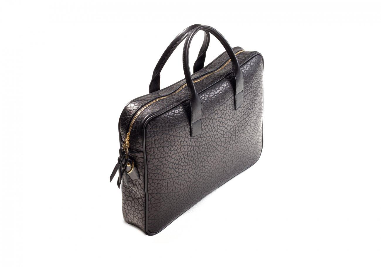 Black Laptop Computer Leather Briefcase Shrunken Grain4 2