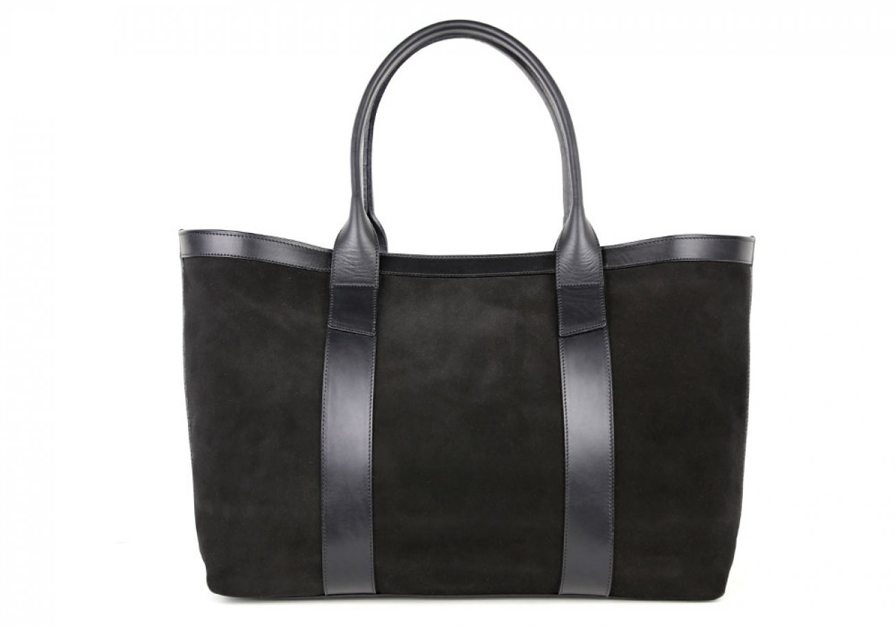 Black Large Suede Tote Made In Usa Frank Clegg 1 1