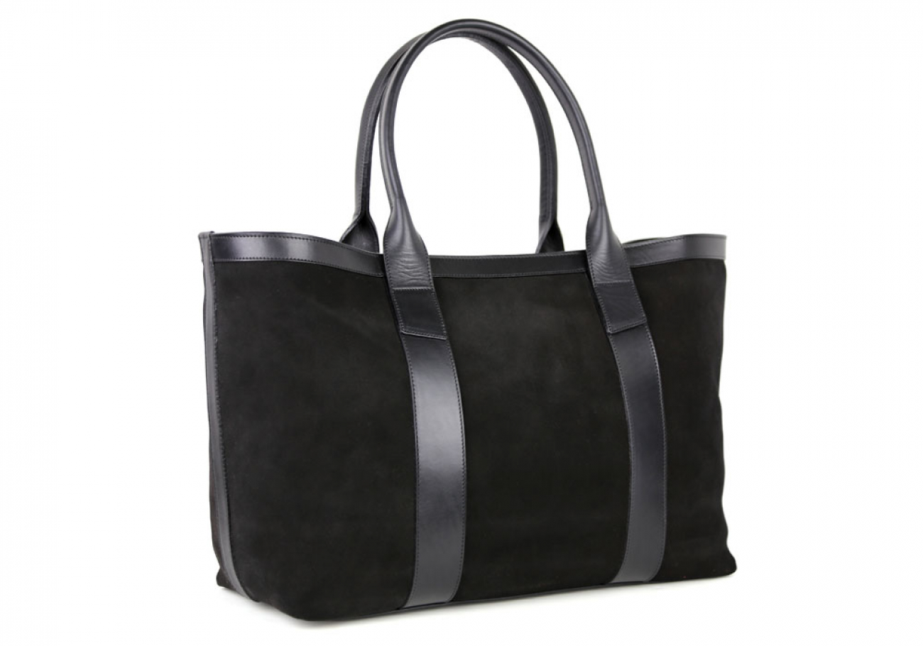 Black Large Suede Tote Made In Usa Frank Clegg 2