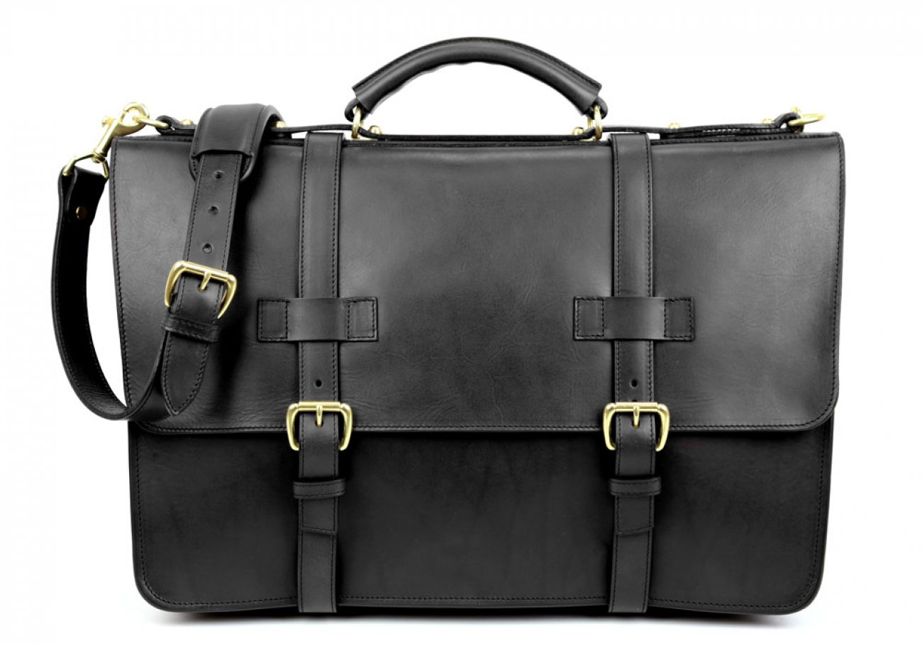 Black Leather American Briefcase Frank Clegg Made In Usa 1