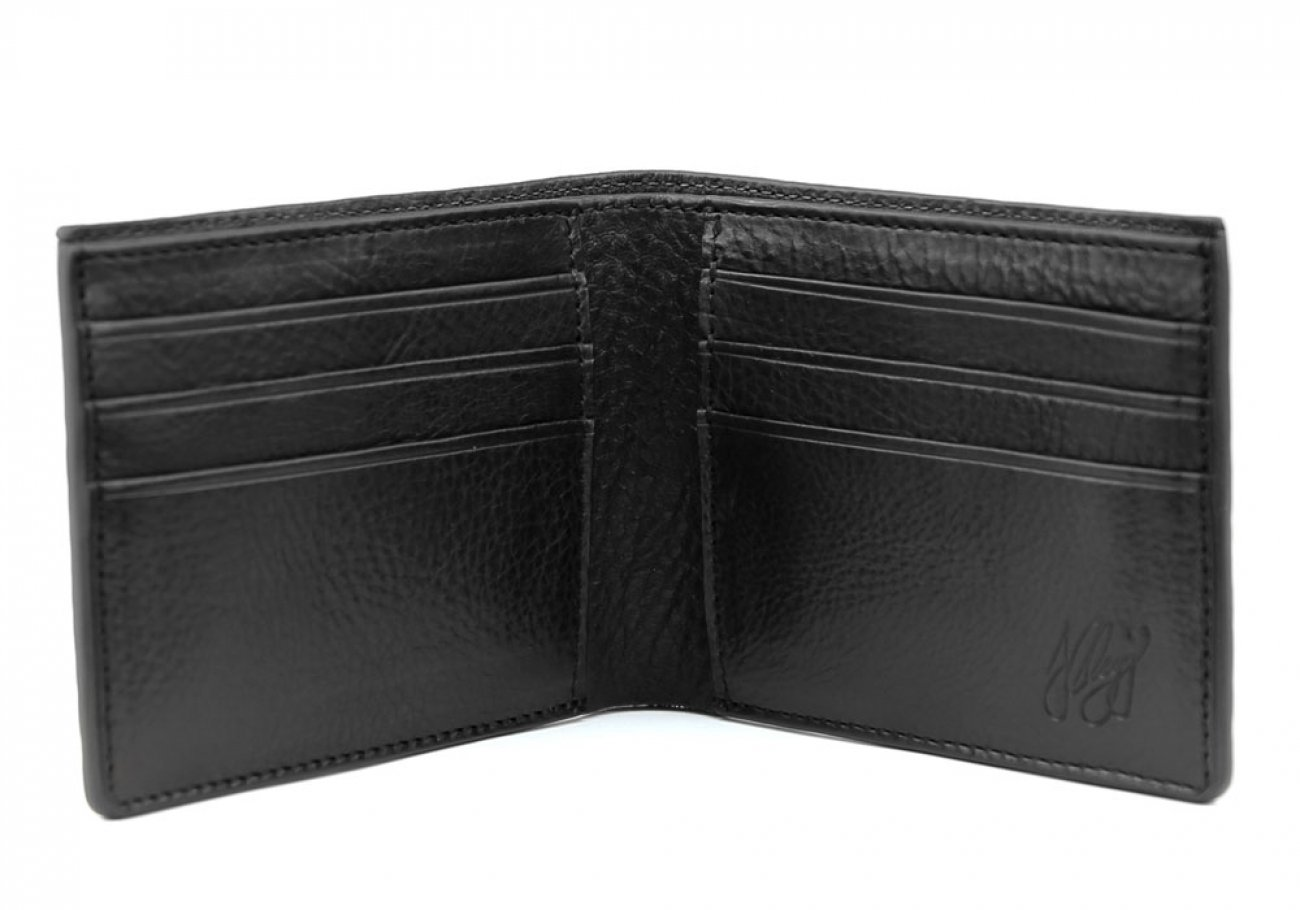 Black Leather Bifold Wallet  Frank Clegg Made In Usa 2
