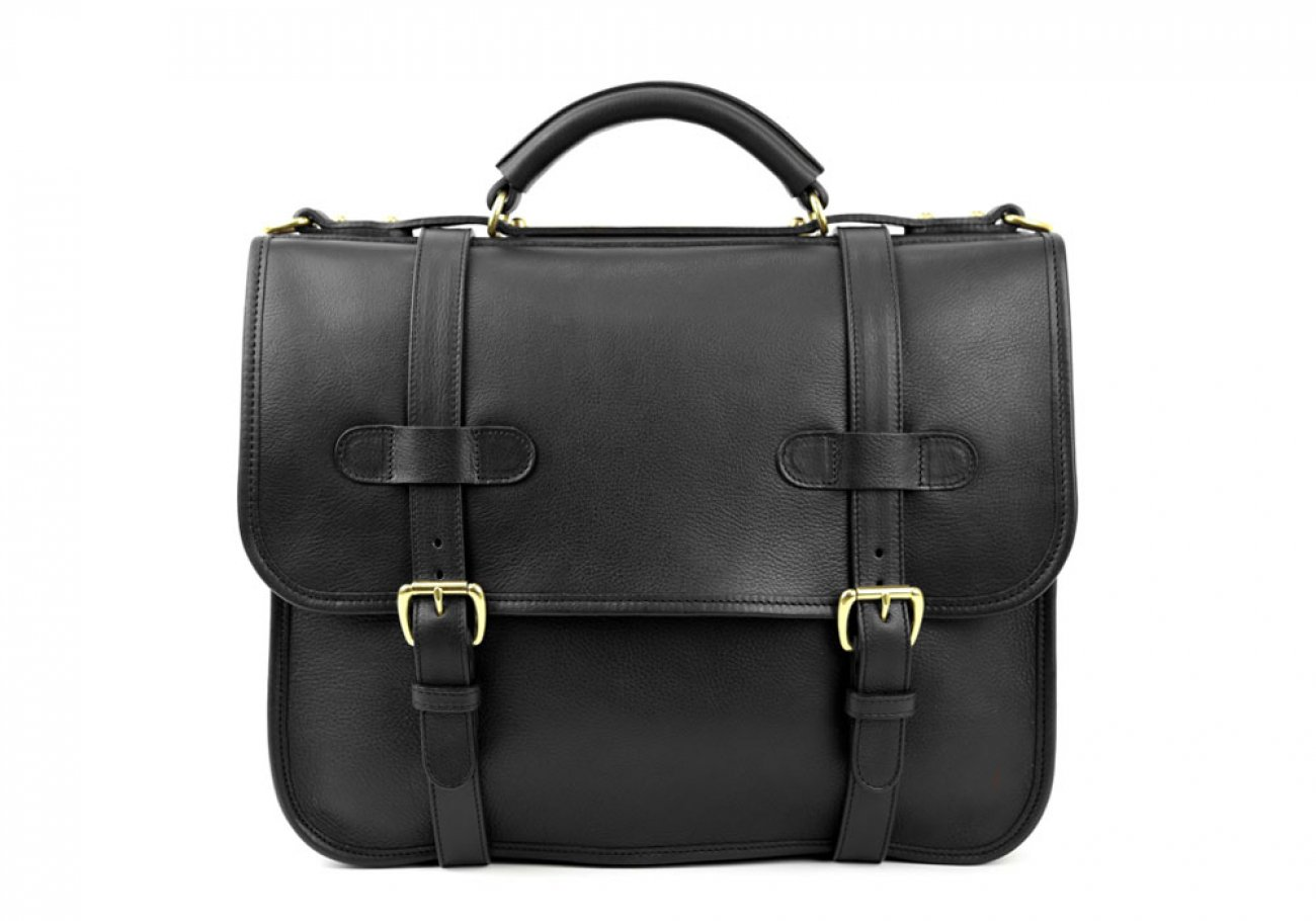 Black Leather Bound Edge English Satchel Frank Clegg Made In Usa 1