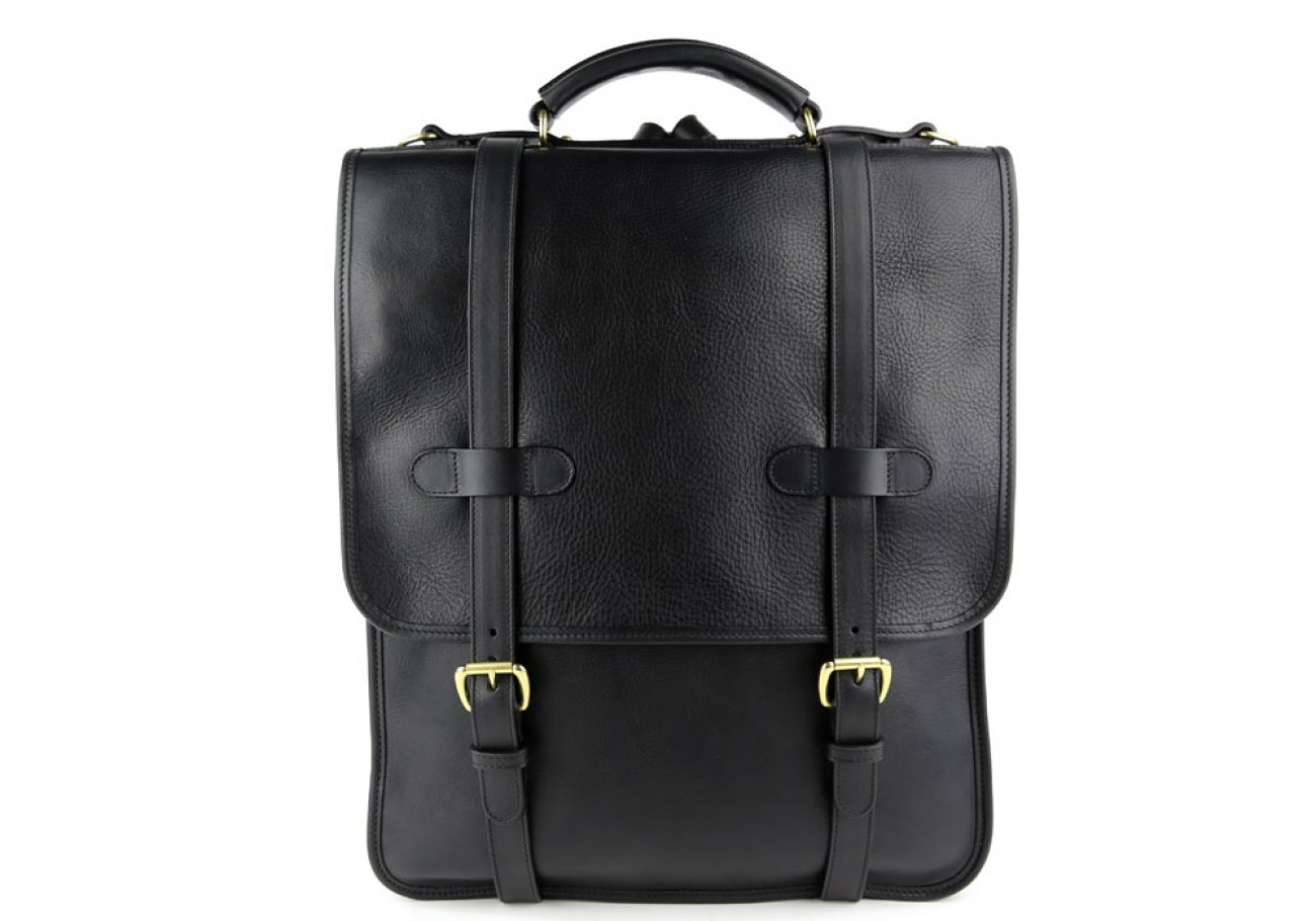 Black Leather Buckle Backpack Frank Clegg Made In Usa 1