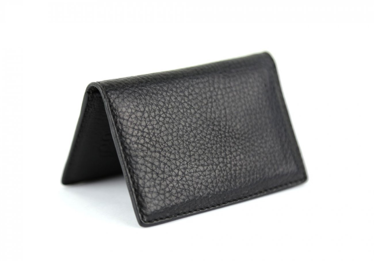 Black Leather Folding Card Wallet Frank Clegg Made In Usa 1