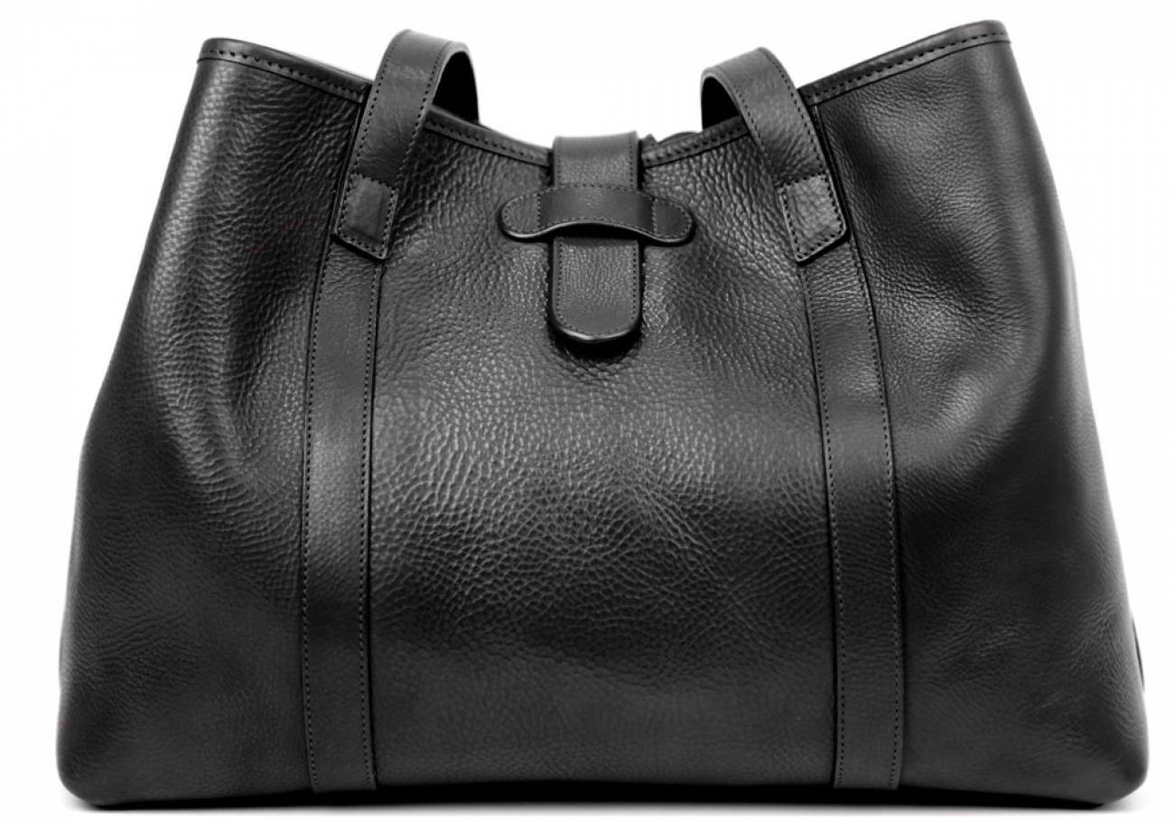 Black Leather Lg Handbag Tote Frank Clegg Made In Usa 1