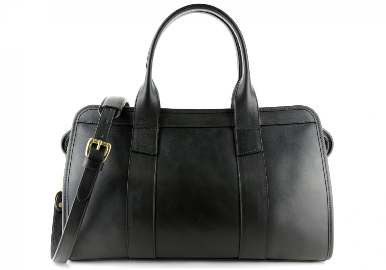 Black Leather Signature Satchel Frank Clegg Made In Usa 1
