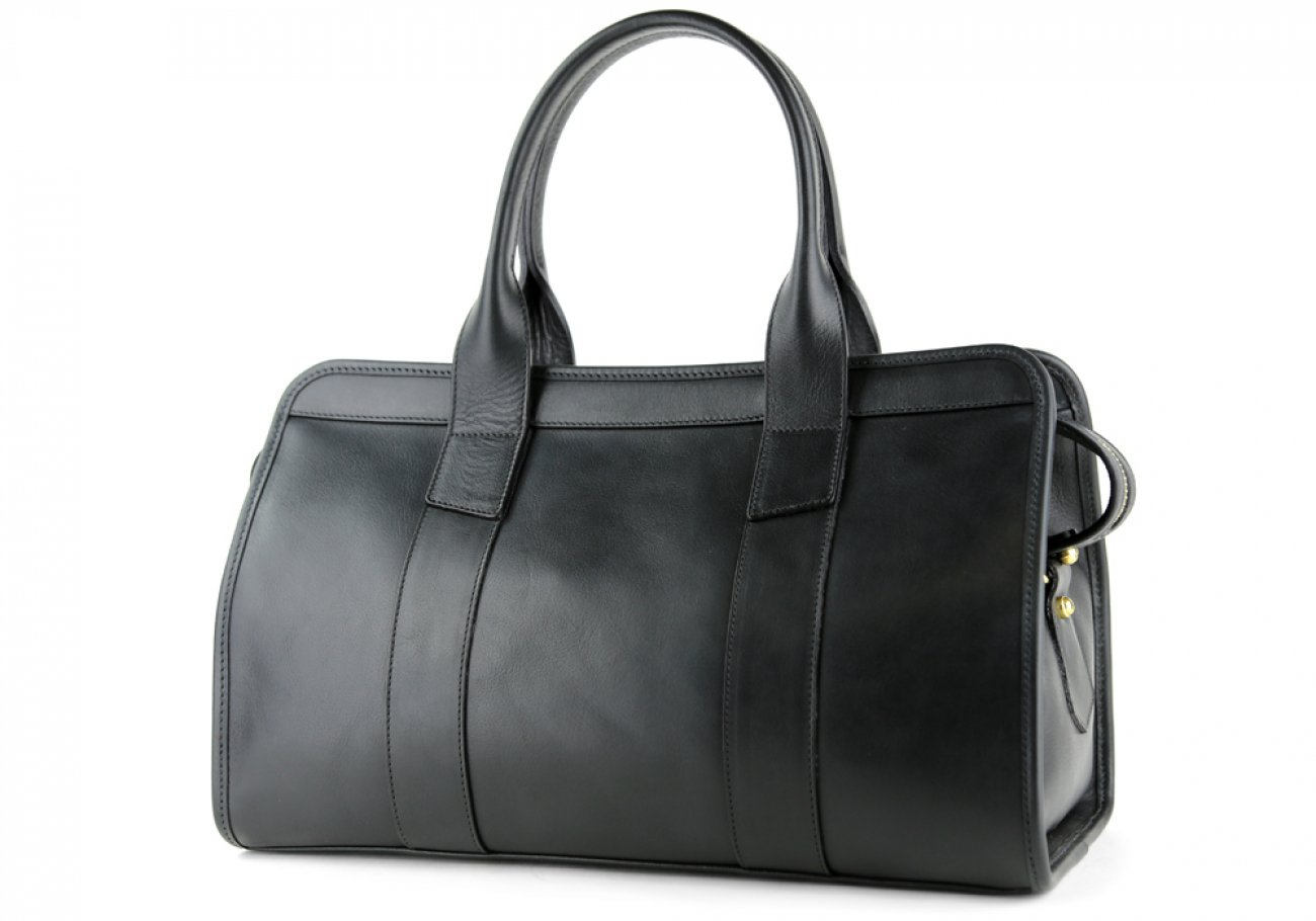 Black Leather Signature Satchel Frank Clegg Made In Usa 4