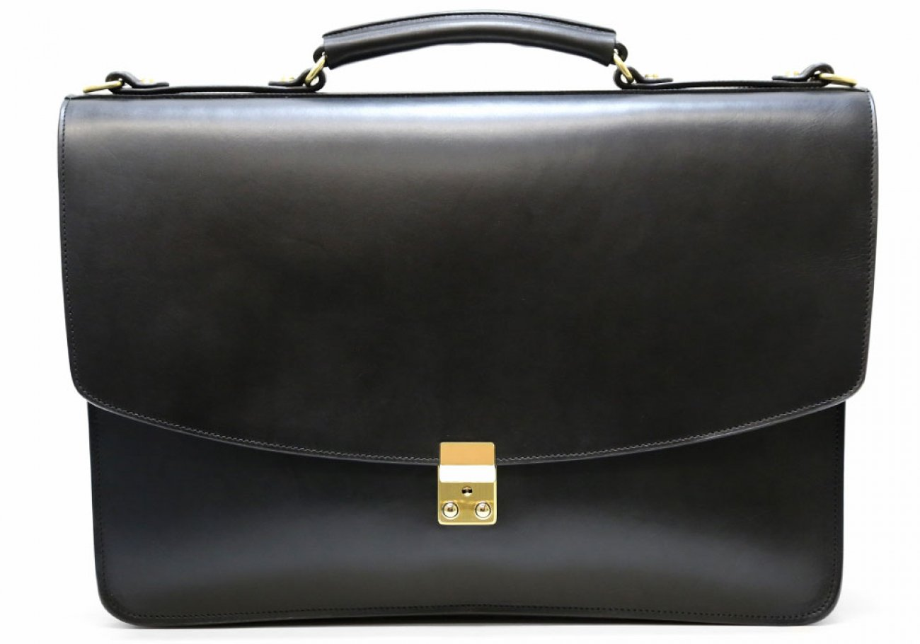 Black Leather Wall Street Briefcase Frank Clegg Made In Usa 1 2