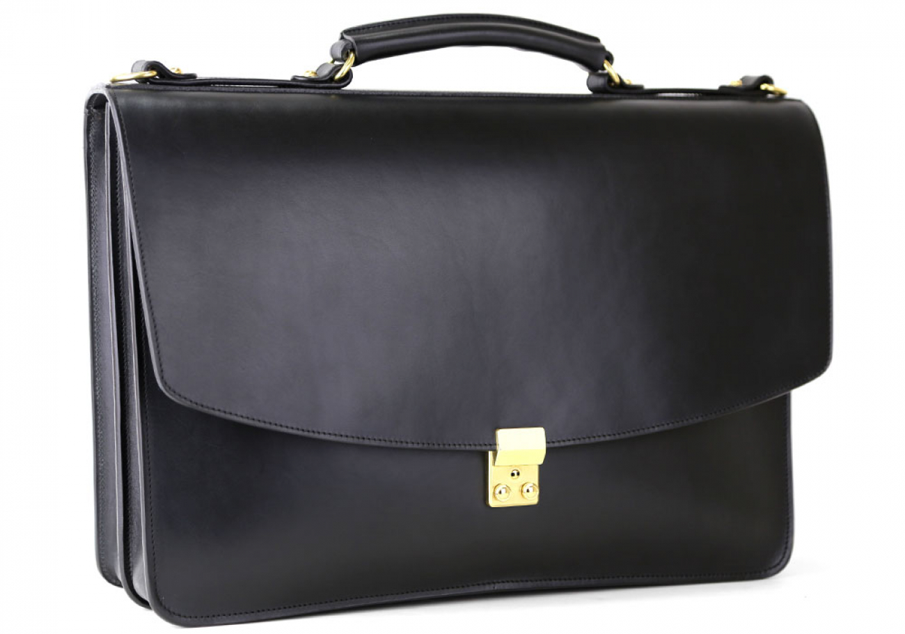 Black Leather Wall Street Briefcase Frank Clegg Made In Usa 2 1