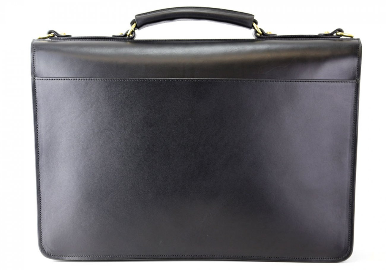 Black Leather Wall Street Briefcase Frank Clegg Made In Usa 4 1