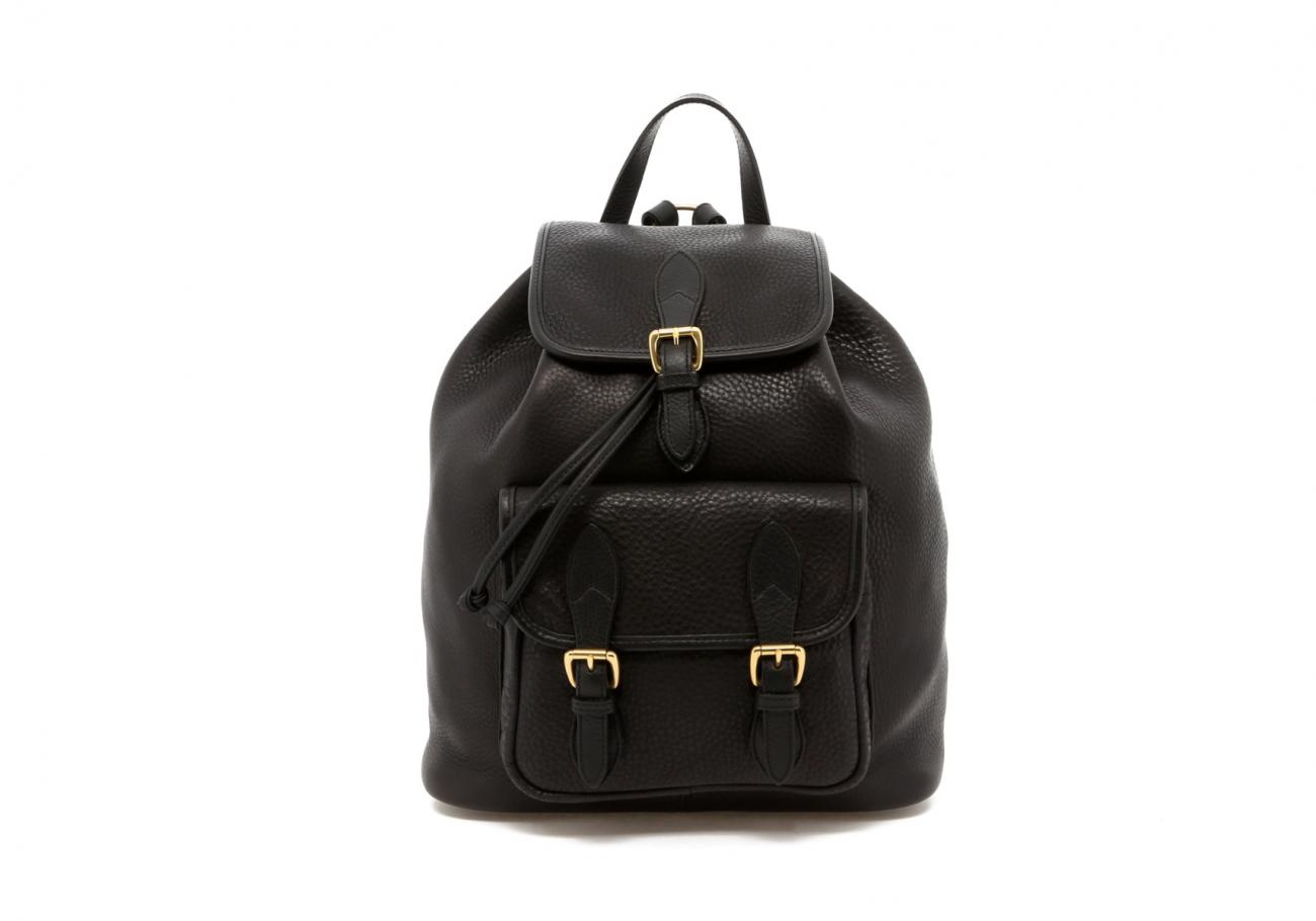Black Pebbled Classic Backpack B