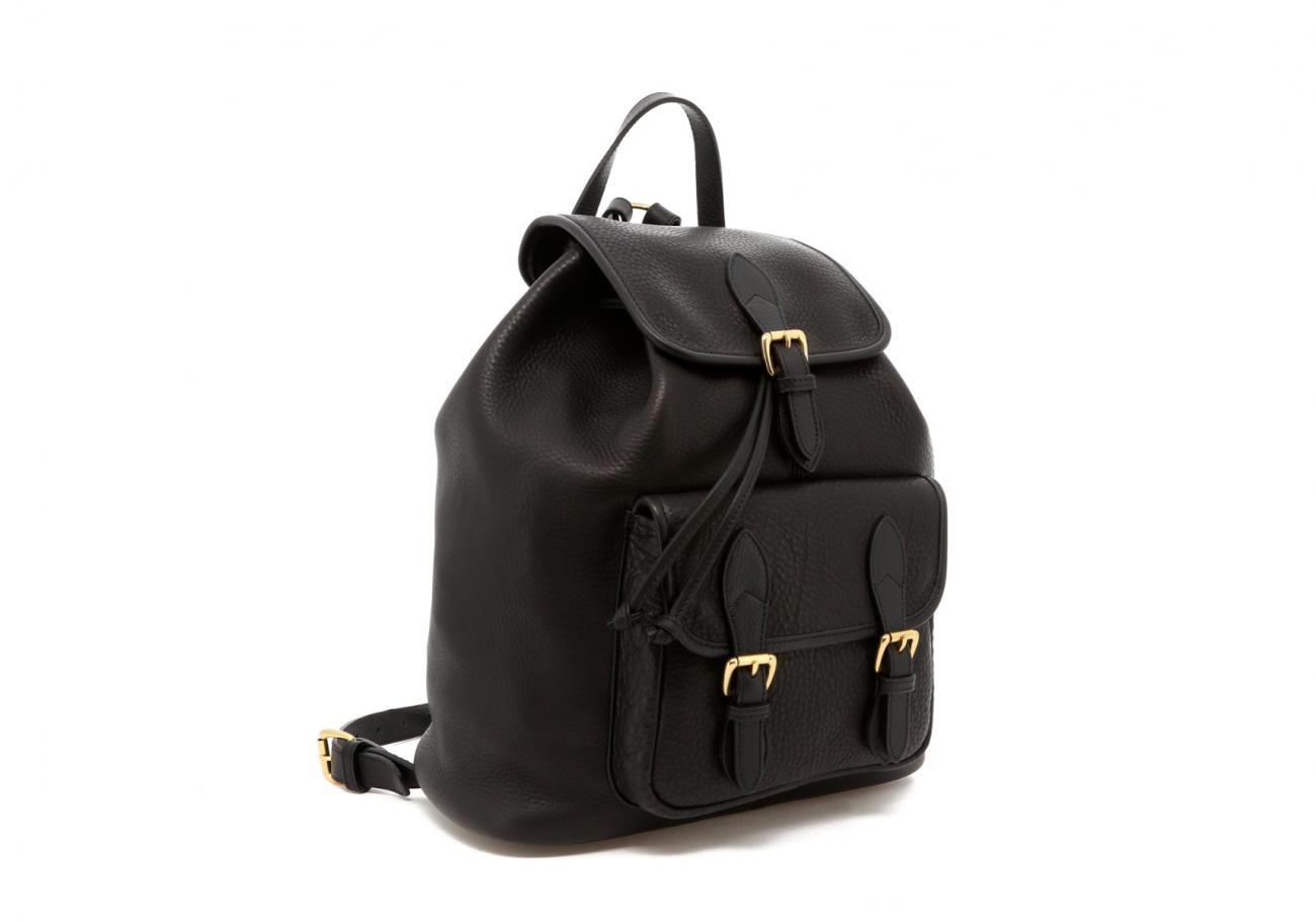 Black Pebbled Classic Backpack C