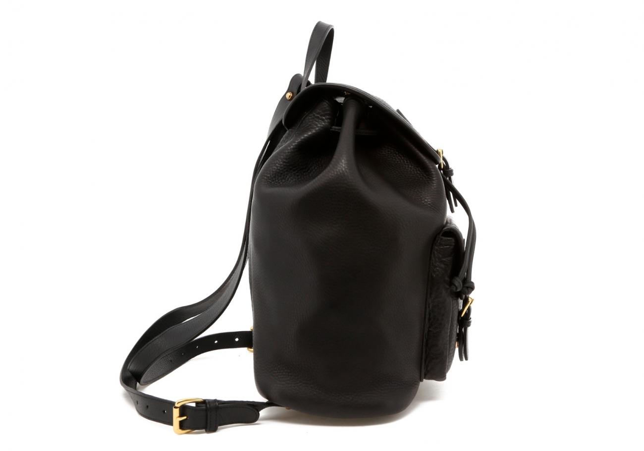 Black Pebbled Classic Backpack D