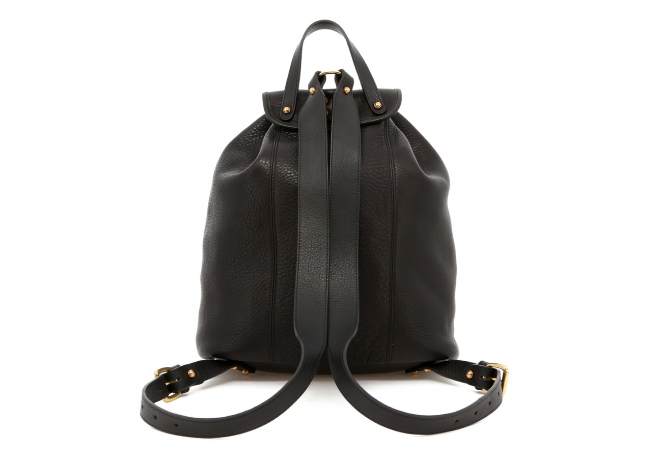 Black Pebbled Classic Backpack E
