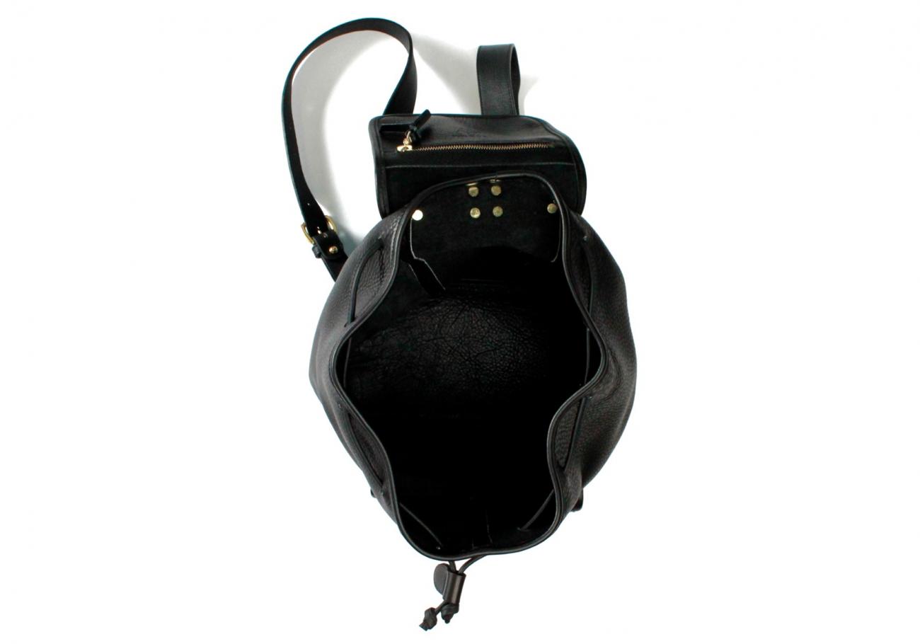 Black Pebbled Classic Backpack F