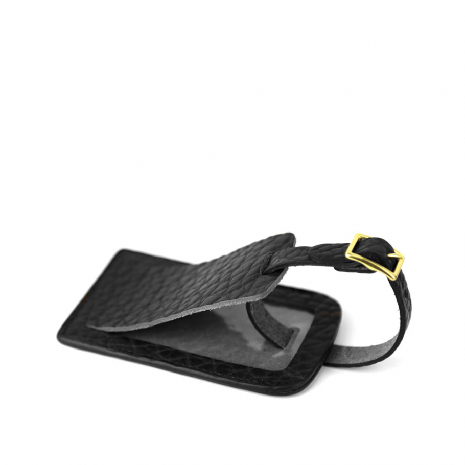 Black Shrunken Leather Luggage Tag Frank Clegg Made In Usa 1 Raw