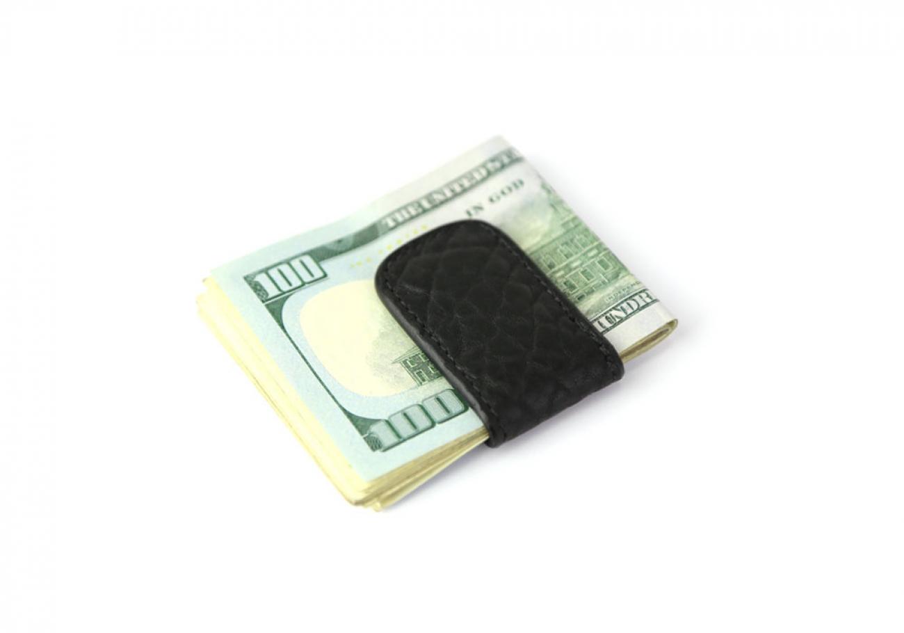Black Shrunken Leather Money Clip Frank Clegg Made In Usa 1