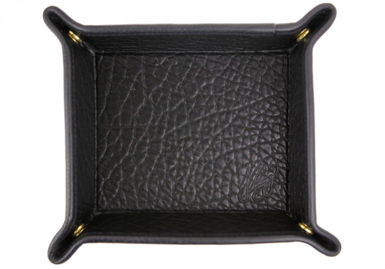 Black Shrunken Leather Valet Key Tray Frank Clegg Made In Usa 1