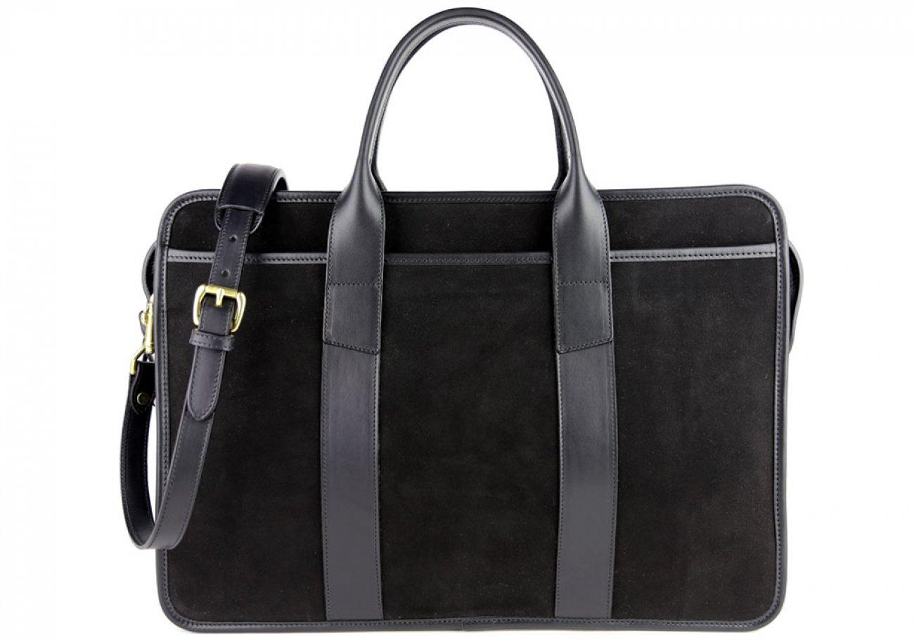 Black Suede Bound Edge Ziptop Briefcase Frank Clegg Made In Usa 2
