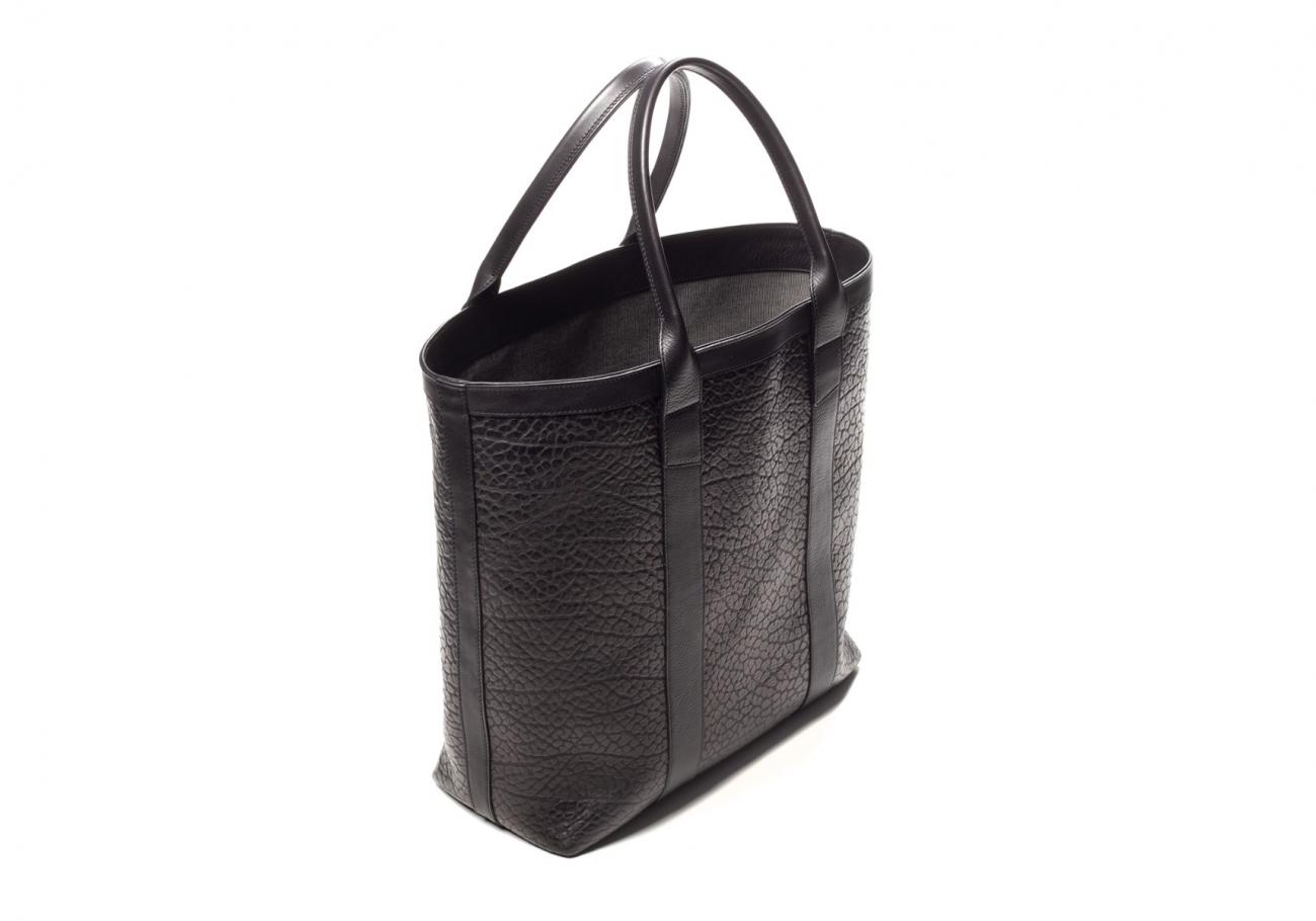 Black Tall Leather Tote Bag Shrunken5 1