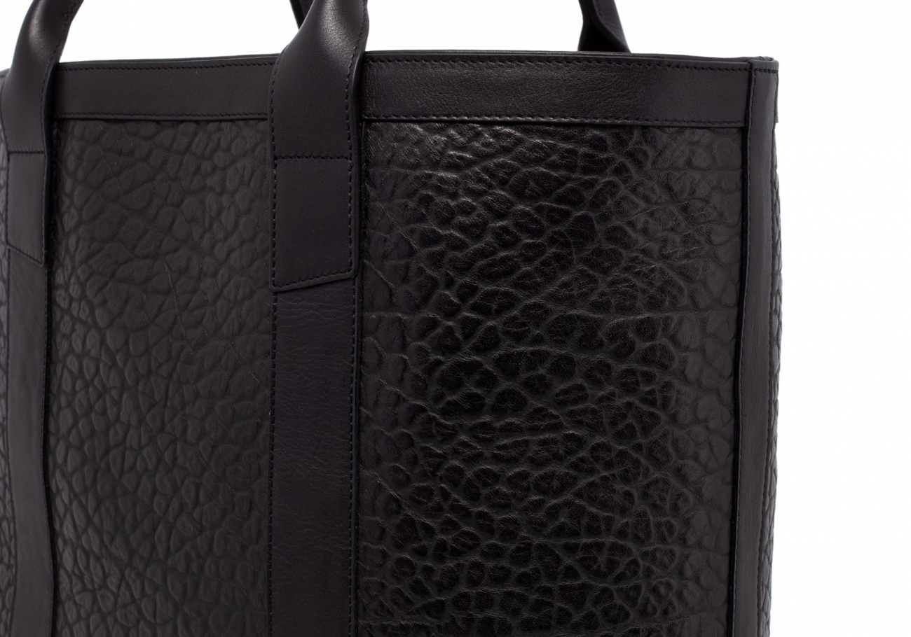 Black Tall Leather Tote Bag Shrunken6 1