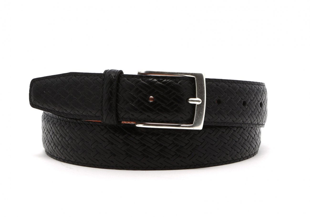 Black Trezlis Basket Leather Belt1 1 2