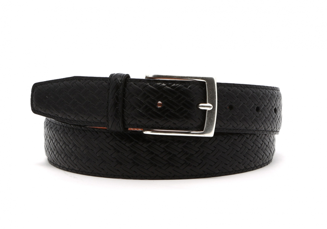 Black Trezlis Basket Leather Belt1 6 2
