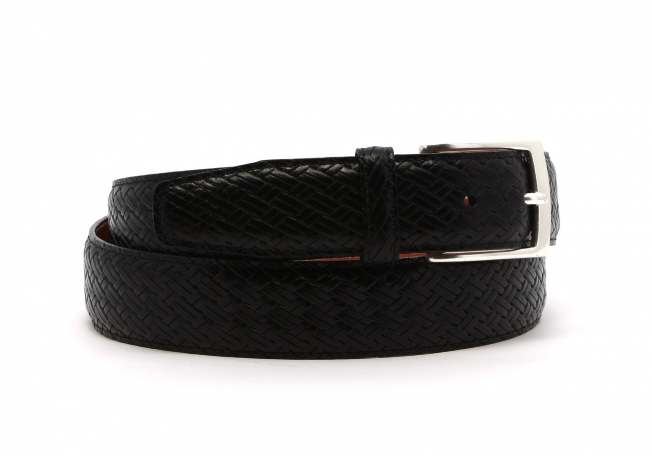 Black Trezlis Basket Leather Belt2 1 2