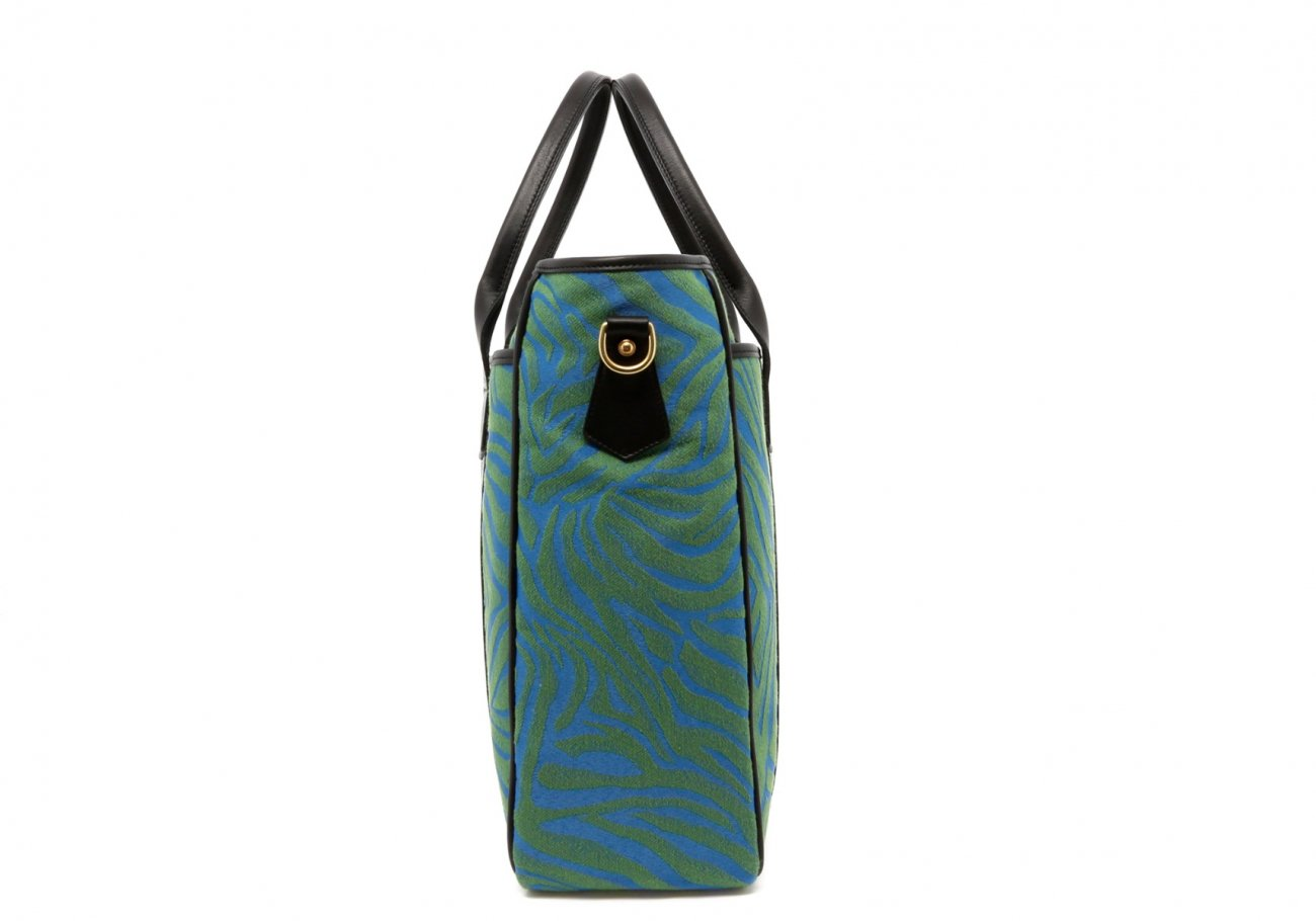Blue Green Animal Print Commuter Tote D