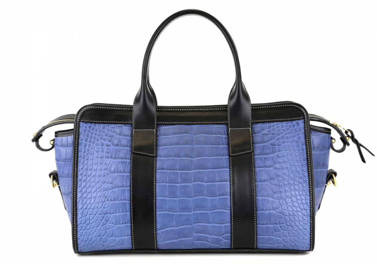 Blue Alligator Satchel Frank Clegg Made In Usa 1