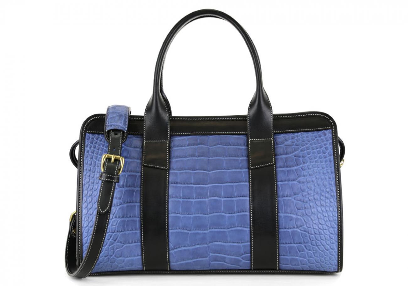 Blue Alligator Satchel Frank Clegg Made In Usa 4