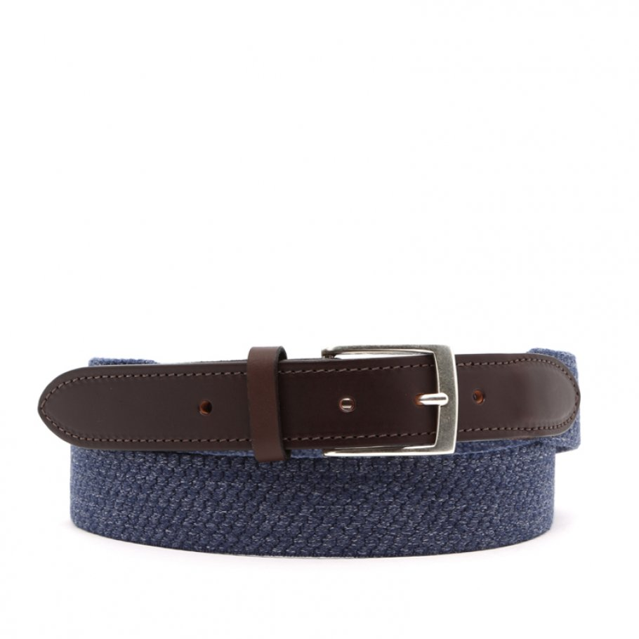 Blue Woven Elastic Wool Belt Leather Trim