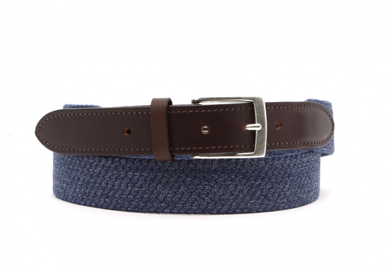Blue Woven Elastic Wool Belt Leather Trim1 1 2