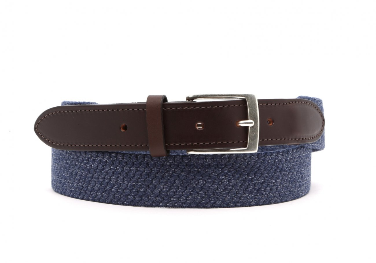 Blue Woven Elastic Wool Belt Leather Trim1 1 3