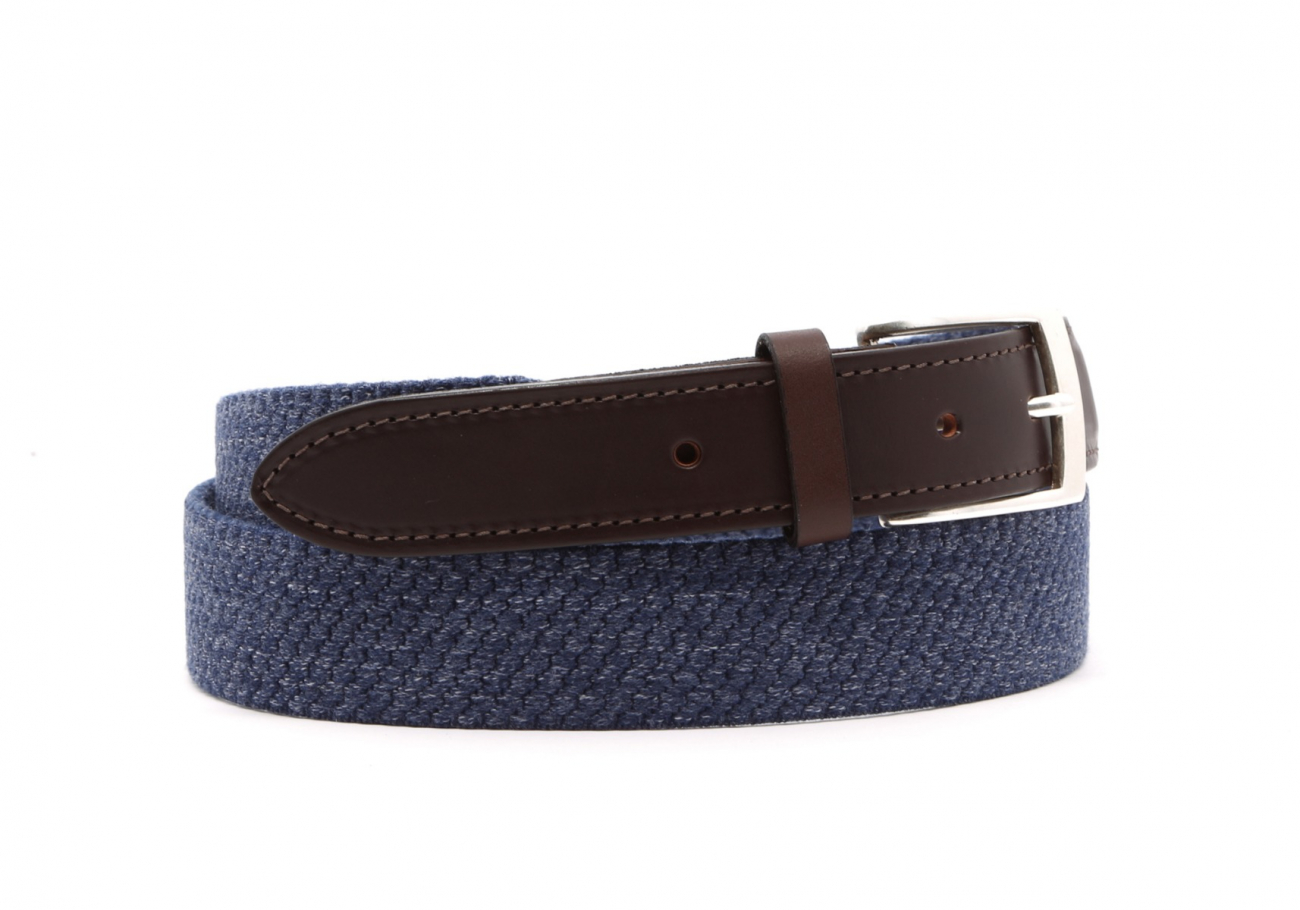 Blue Woven Elastic Wool Belt Leather Trim2 6