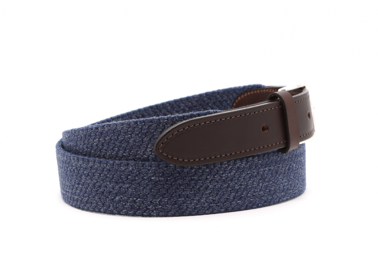 Blue Woven Elastic Wool Belt Leather Trim3 6