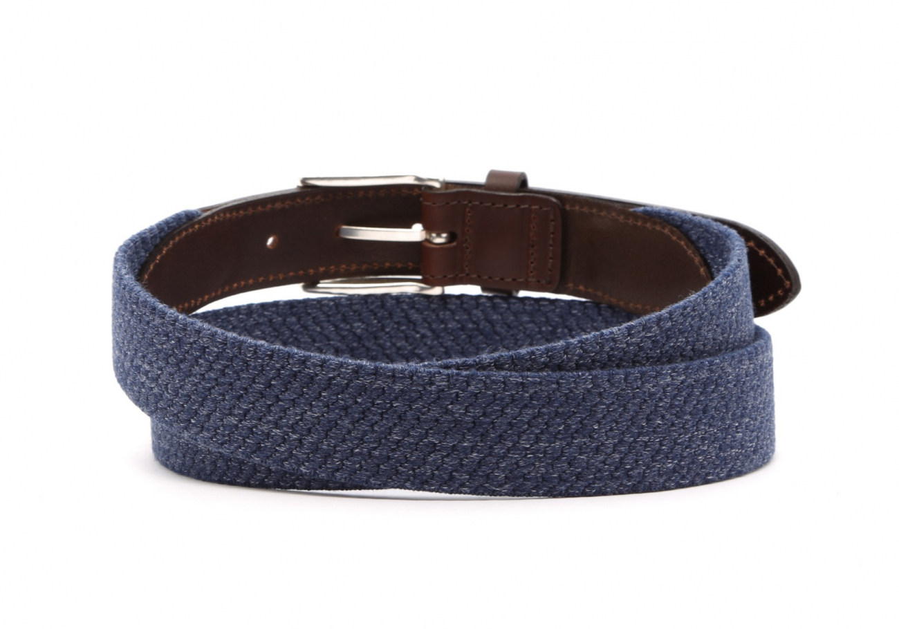 Blue Woven Elastic Wool Belt Leather Trim4 3