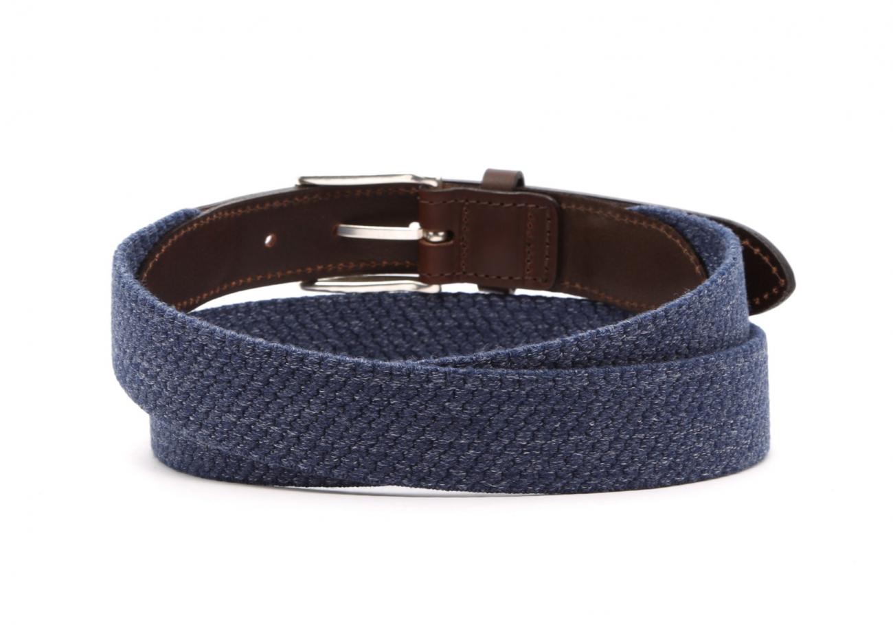Blue Woven Elastic Wool Belt Leather Trim4 6