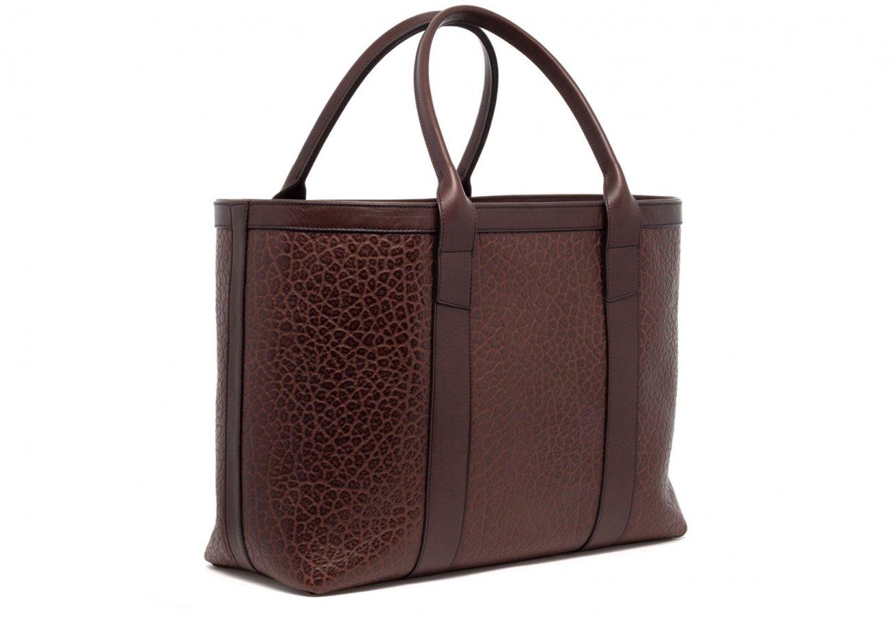 Brown Leather Working Tote Bag Shrunken 21