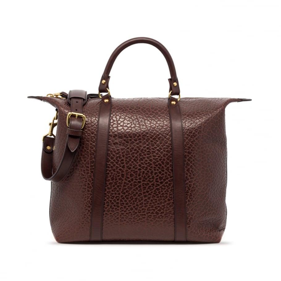 Brown Leather Zipper Tote Bag Shrunken