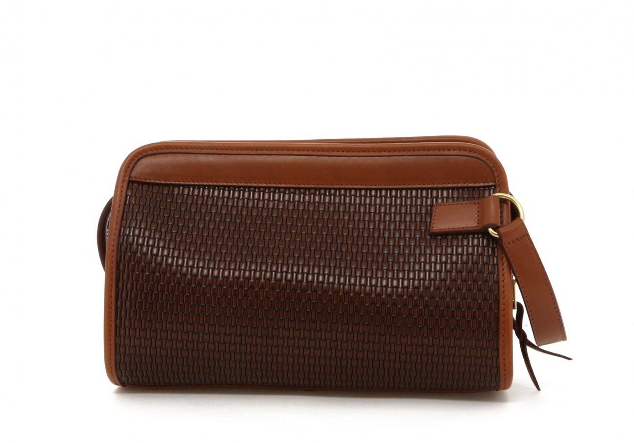 Brown Basket Weave Printed Travel Kit B