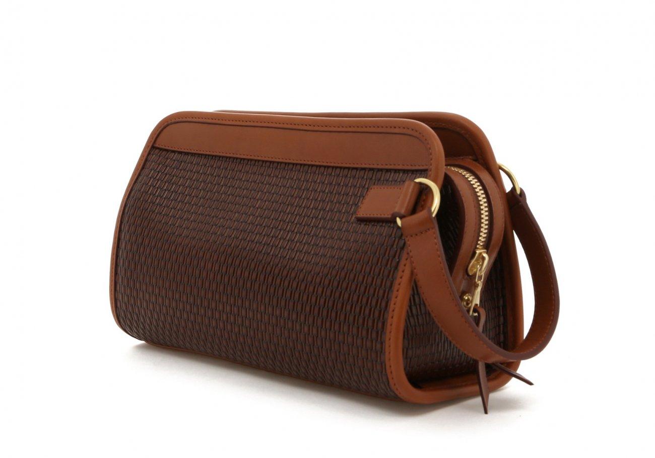 Brown Basket Weave Printed Travel Kit C