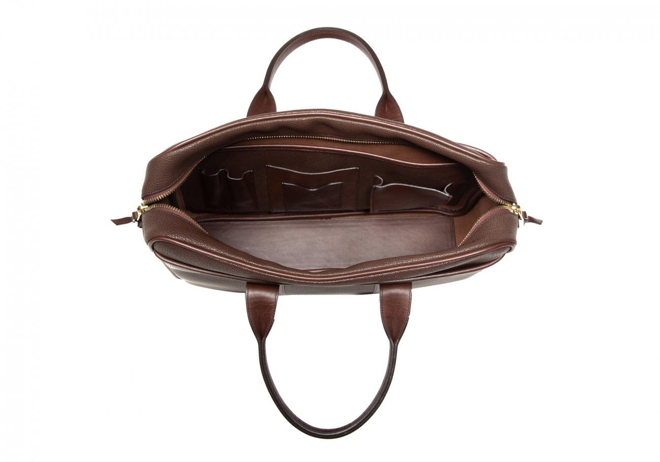 Brown Che Vre Goatskin Zipper Briefcase2