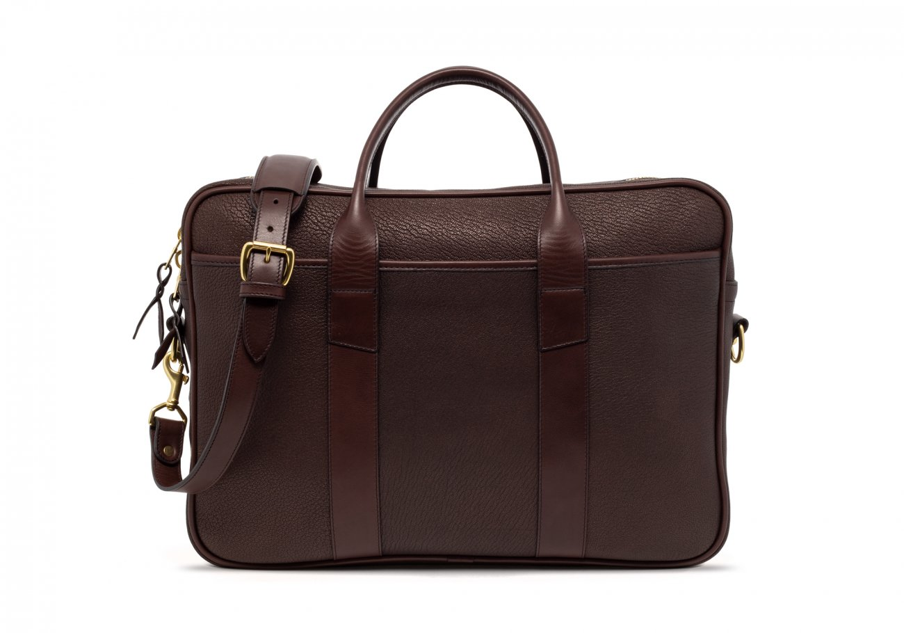 Brown Che Vre Goatskin Zipper Briefcase3