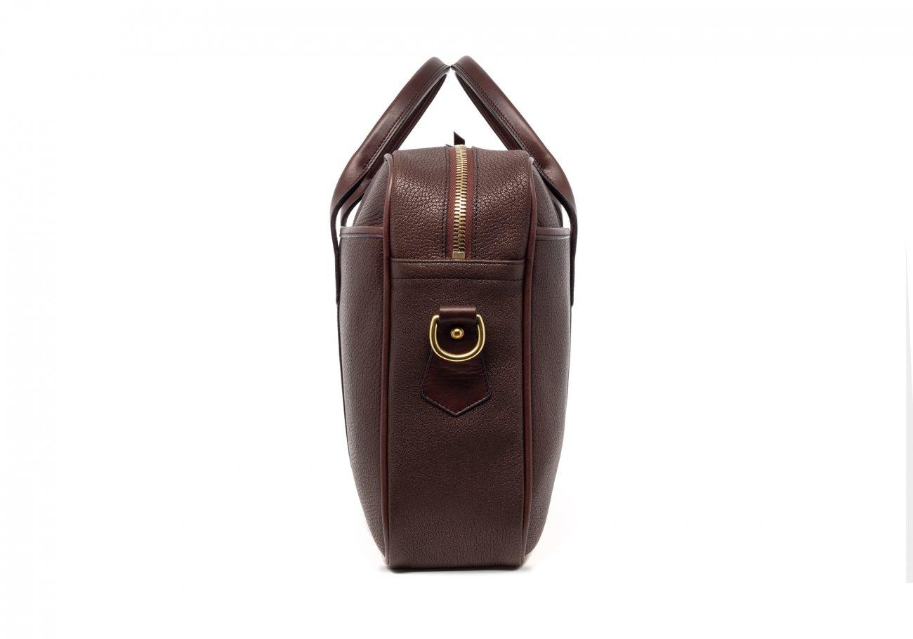 Brown Che Vre Goatskin Zipper Briefcase4