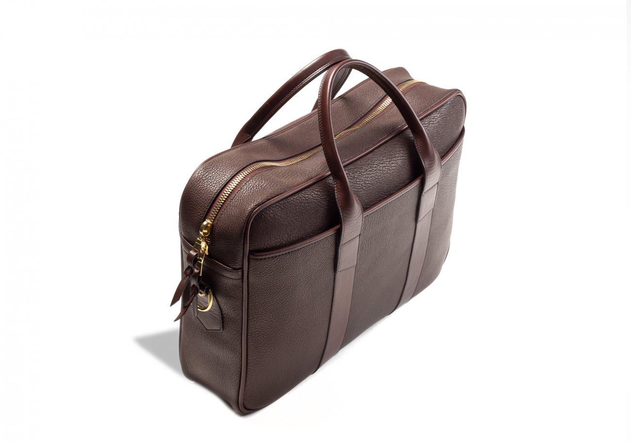 Brown Che Vre Goatskin Zipper Briefcase5