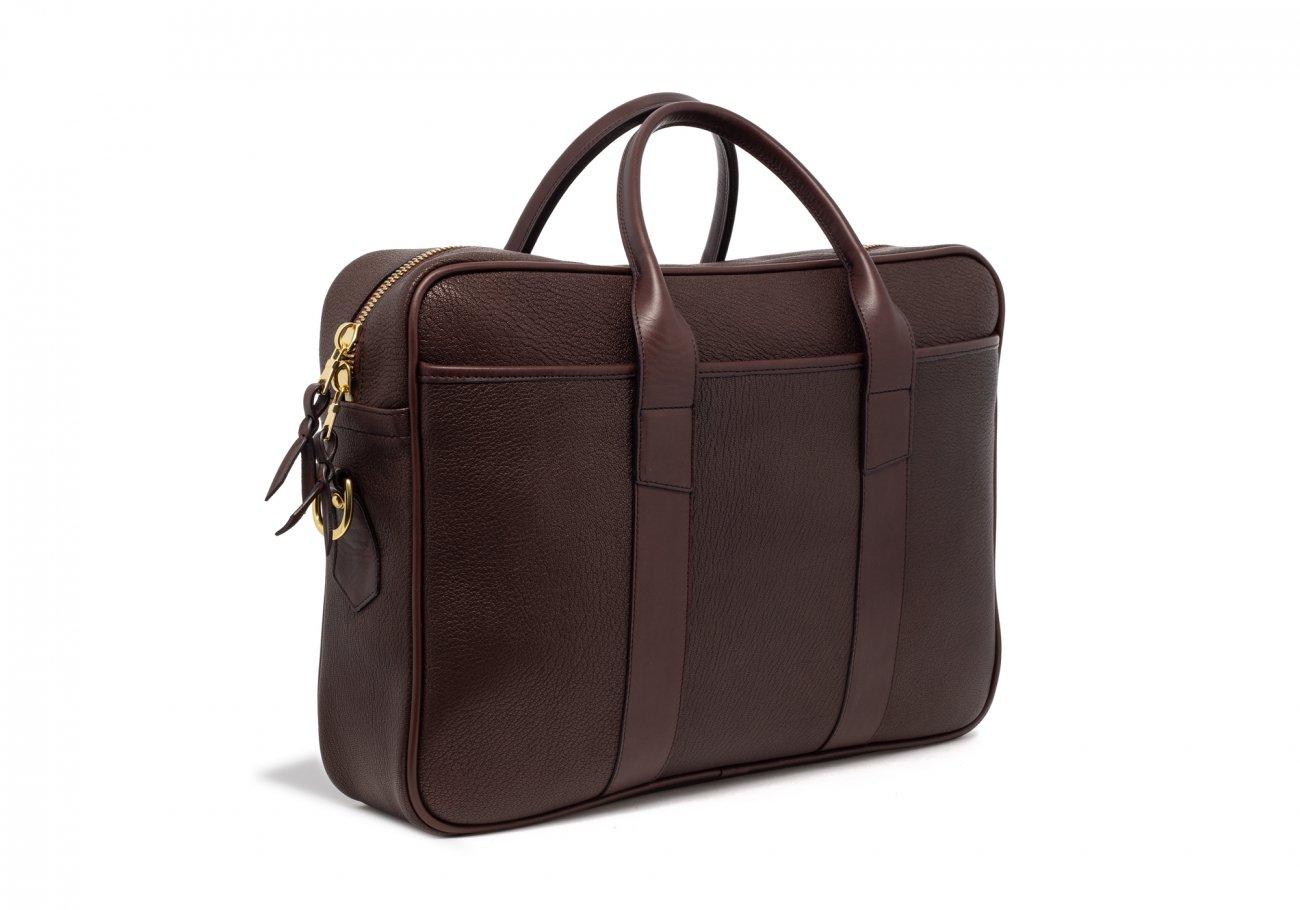 Brown Che Vre Goatskin Zipper Briefcase6