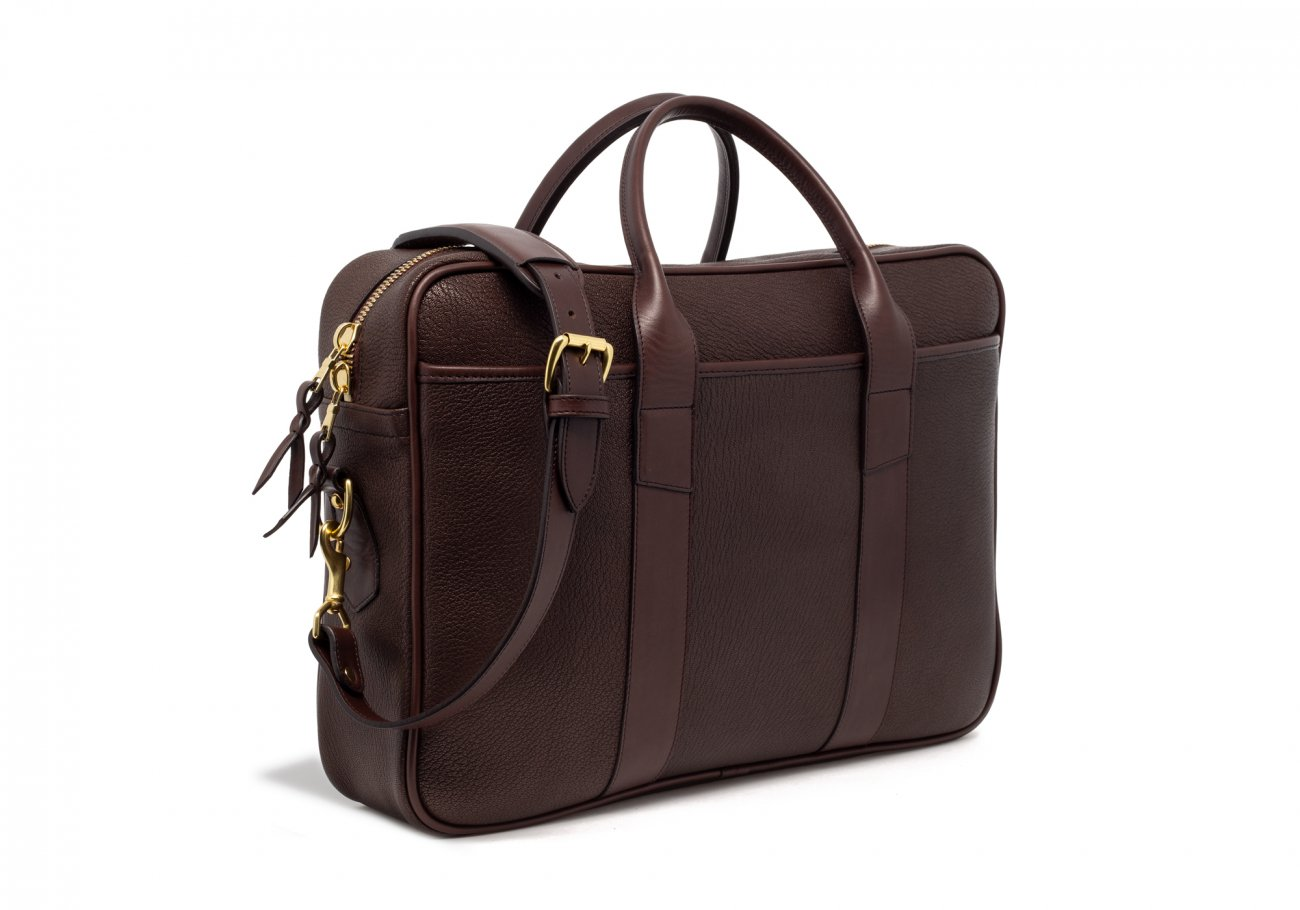 Brown Che Vre Goatskin Zipper Briefcase7