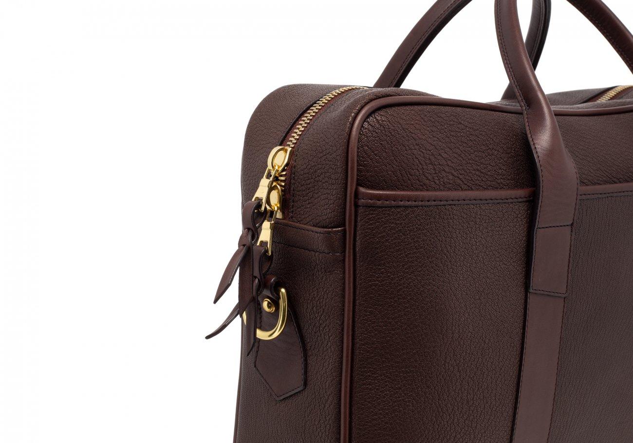 Brown Che Vre Goatskin Zipper Briefcase8